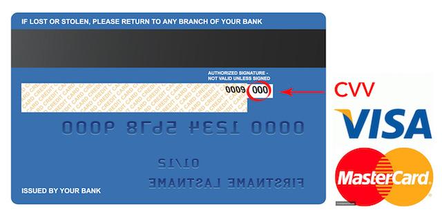Vị trí của mã bảo mật CVV trên thẻ tín dụng