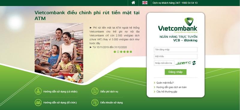 Đăng nhập dịch vụ internet banking Vietcombank