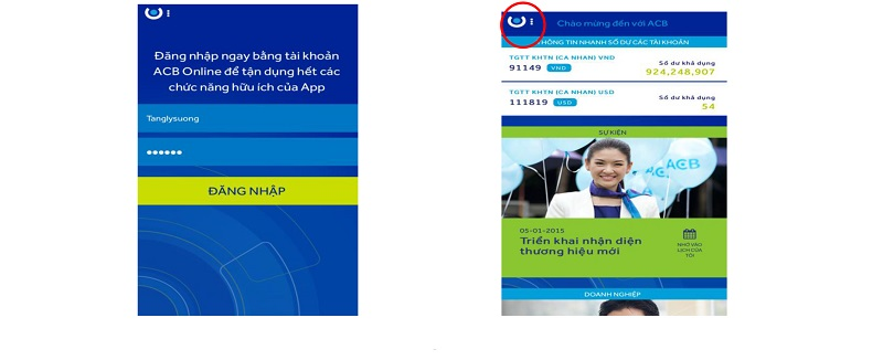 Đăng nhập tài khoản vào ứng dụng để sử dụng dịch vụ ACB online