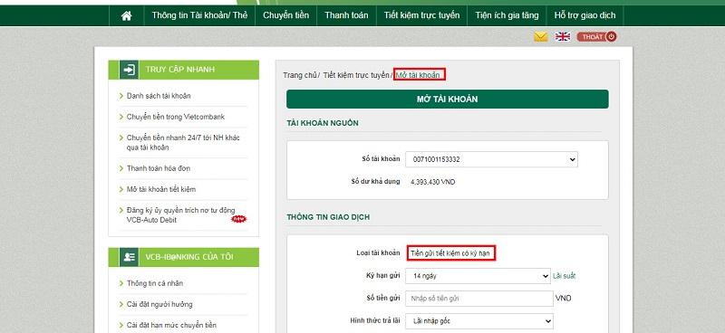 Mở tải khoản tiền gửi có kỳ hạn online Vietcombank