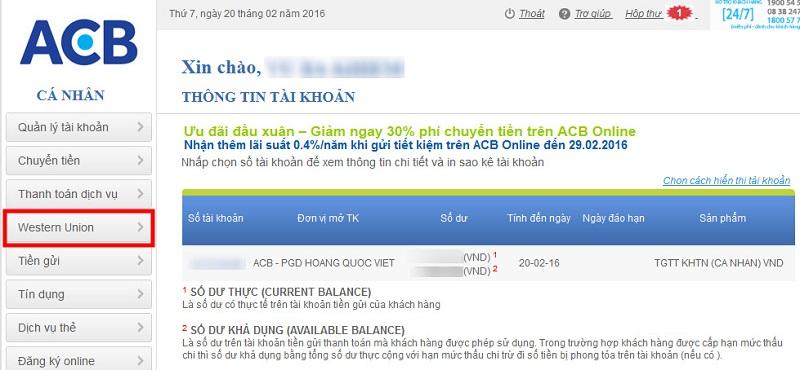 Nộp tiền vào thẻ visa bằng internet banking
