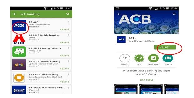 Tải ứng dụng ACB banking về máy
