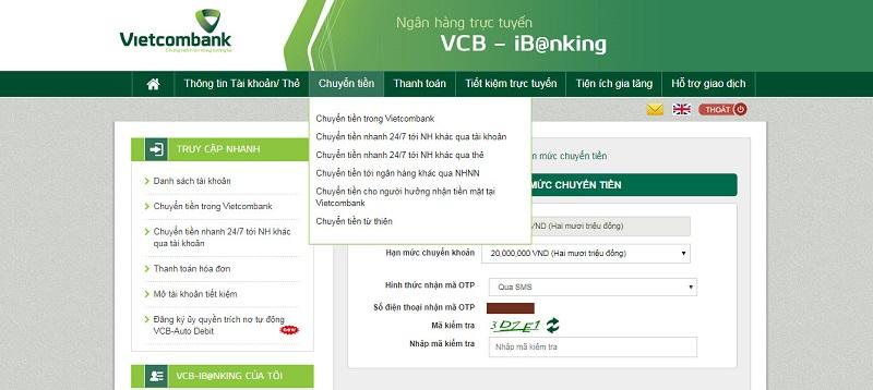 Tiện ích chuyển tiền trong và ngoài Vietcombank