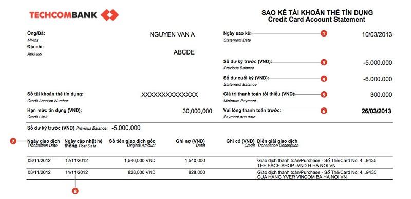 Bảng sao kê tài khoản tín dụng Techcombank