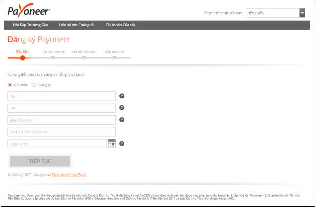 Bước đầu truy cập website để đăng ký tài khoản Payoneer