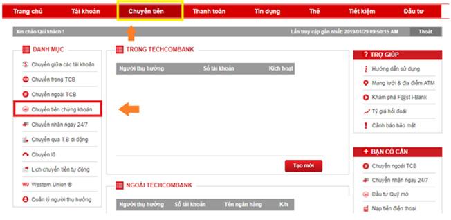 Chuyển tiền dễ dàng với Techcombank internet banking