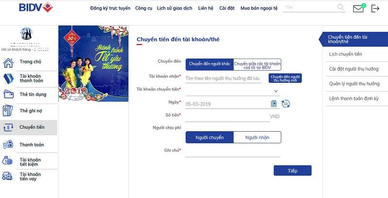 Chuyển tiền trên BIDV online