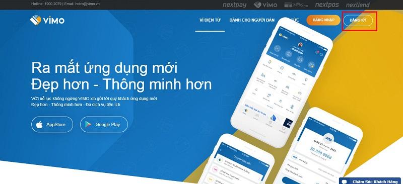 Đăng ký tài khoản Vimo trên website hoặc trên ứng dụng di động