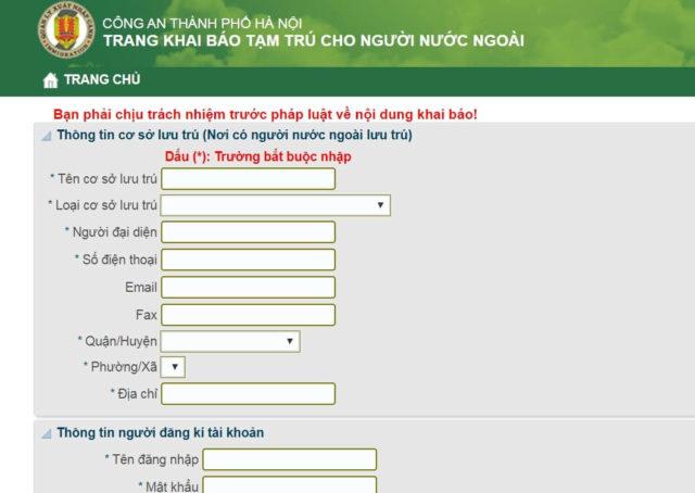 Đăng ký tạm trú cho người nước ngoài online