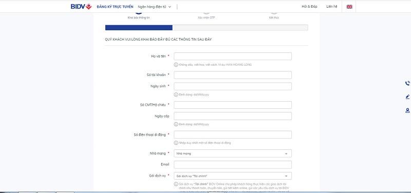 Điền các thông tin cơ bản để đăng kí internet banking BIDV