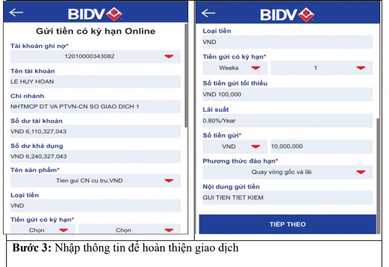 Mở sổ tiết kiệm BIDV online