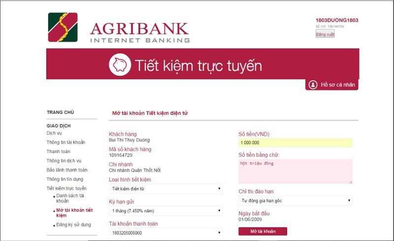 Mở sổ tiết kiệm trực tuyến Agribank