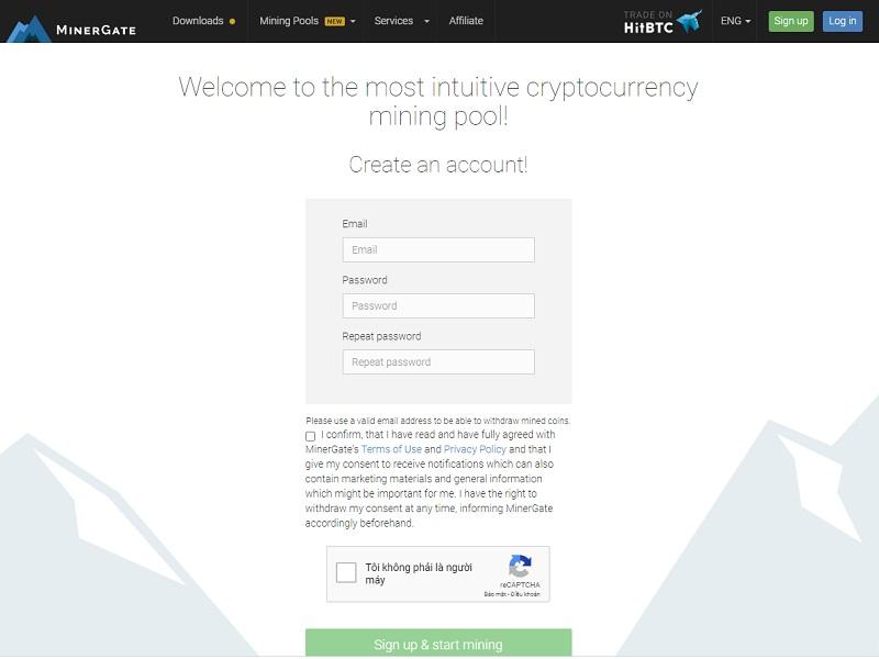 Người dùng có thể tiến hành đào coin trên Minergate