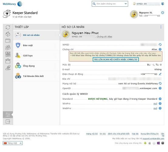 Tải hình chụp chứng minh nhân dân để xác thực tài khoản
