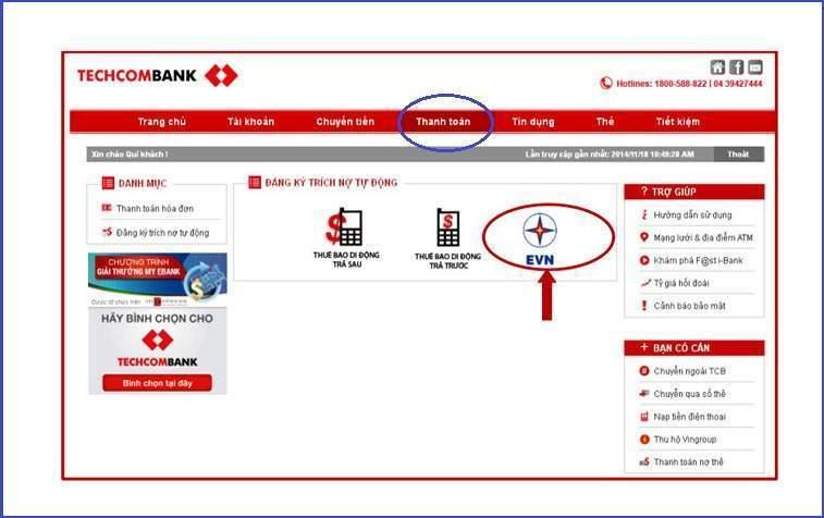 Thanh toán hóa đơn tiền điện với dịch vụ Techcombank internet banking