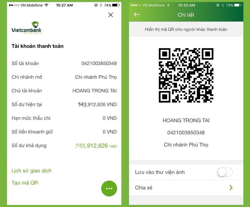 Thanh toán trên VCB-mobile b@nking với tính năng QR Pay