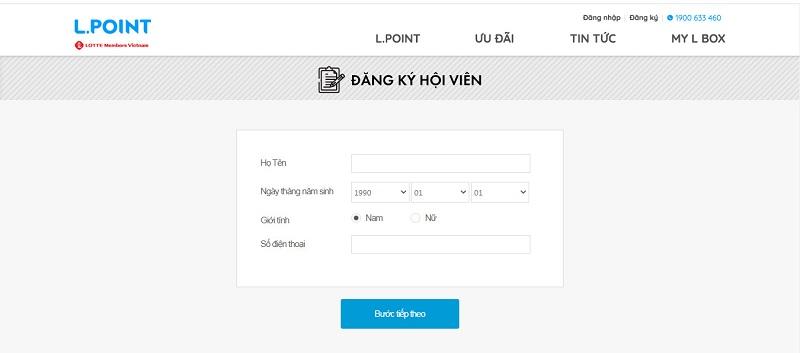 Truy cập trang web để đăng ký thẻ thành viên Lotte trực tuyến