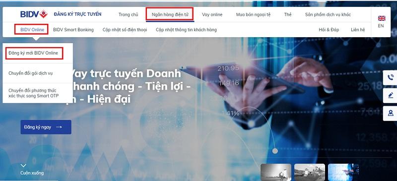 Truy cập website BIDV để đăng kí tài khoản internet banking