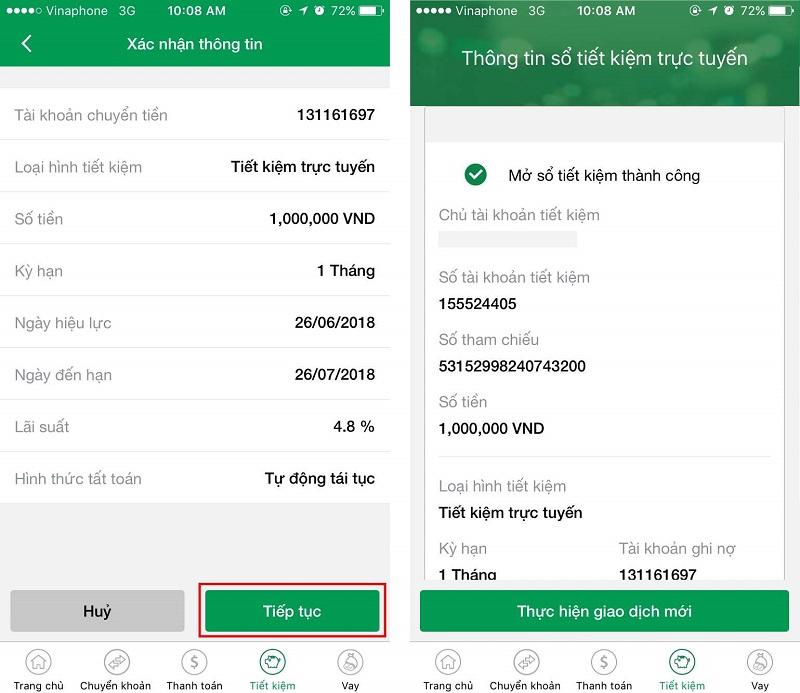 Gửi tiết kiệm Vietcombank trực tuyến đơn giản
