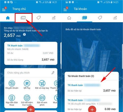 Kiểm tra tài khoản bằng Vietinbank iPay