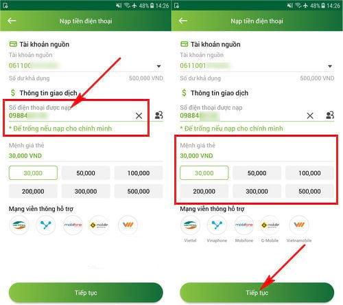 Nạp tiền điện thoại qua Mobile Banking