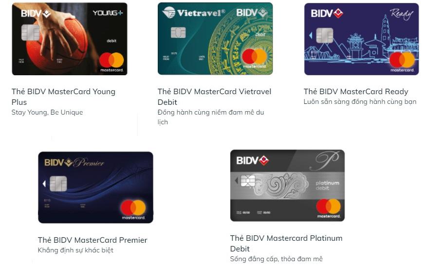 Các loại thẻ ghi nợ quốc tế BIDV