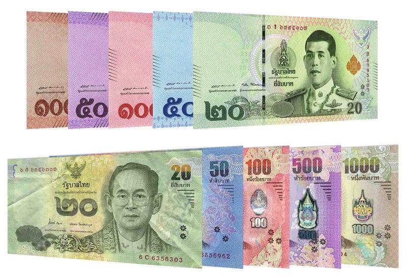 Mệnh giá tiền Thái gồm 1000, 500, 100, 50 và 20 Baht