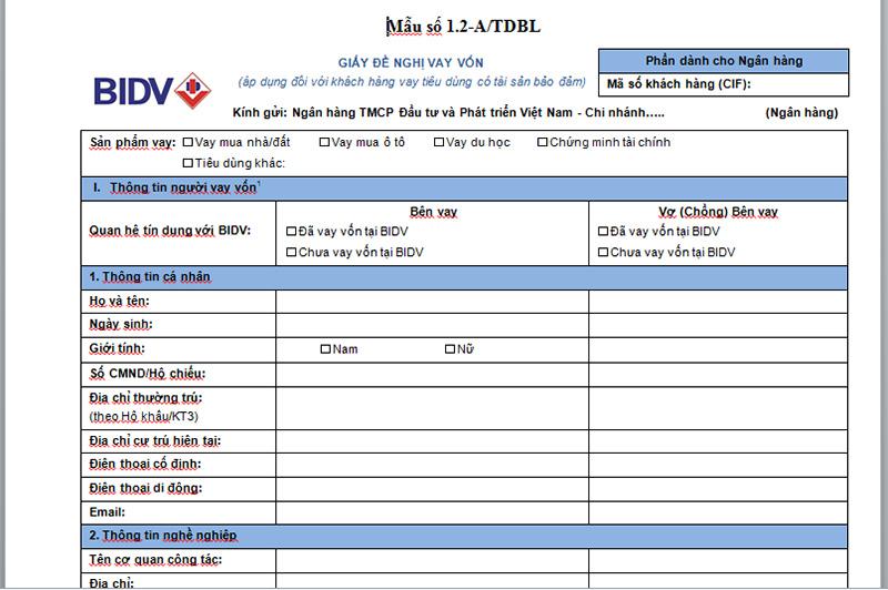 Mẫu đơn đề nghị vay vốn BIDV