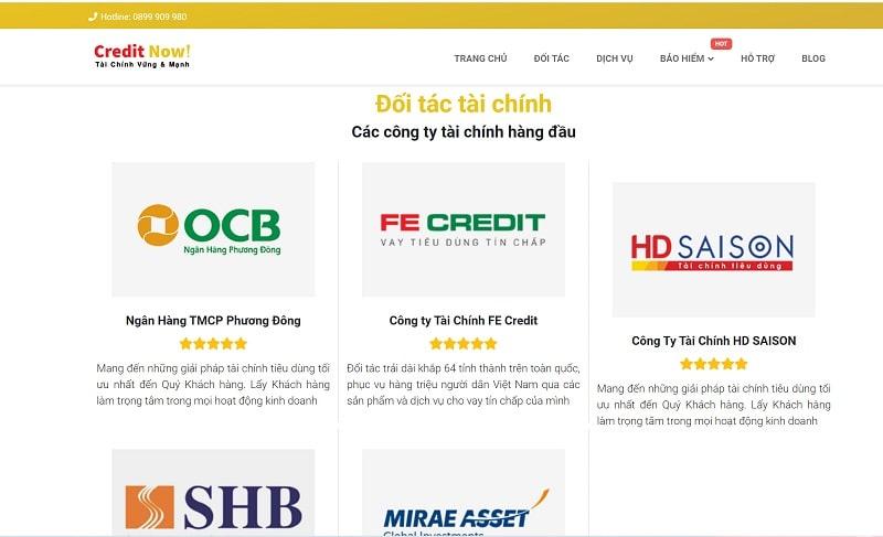 Các đối tác tài chính của Credit Now