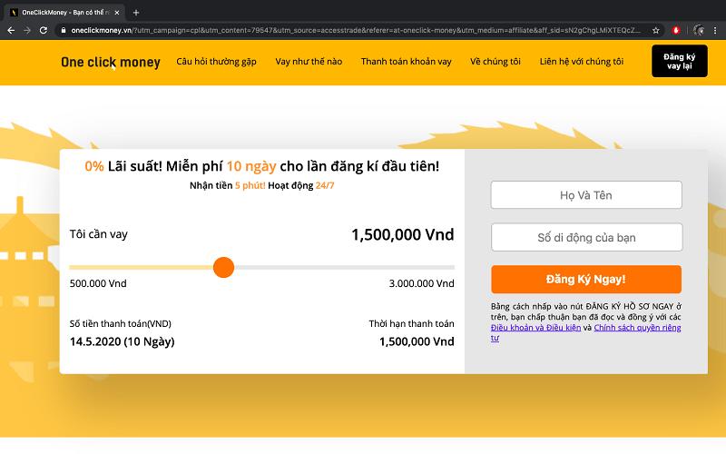 One Click Money có quy trình đăng ký đơn giản, nhanh chóng
