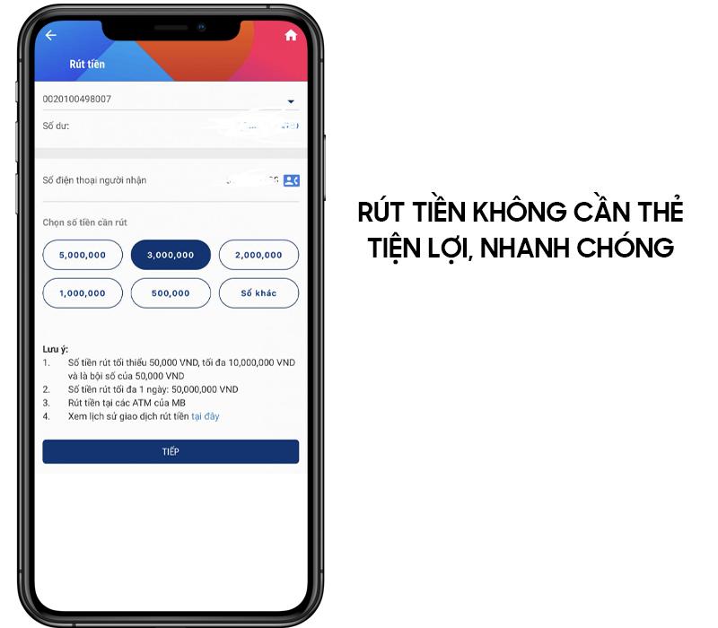 Không cần thẻ bạn cũng có thể rút tiền mặt tại cây ATM bằng app MB Bank
